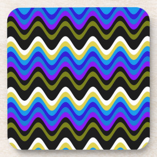 Art Stripes Wave Graphic Design Beverage Coaster