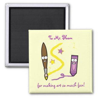 Art Teacher Name Customizable Crayon Paintbrush Magnet