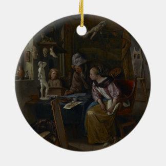 Art Teacher Double-Sided Ceramic Round Christmas Ornament