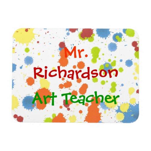 Art Teacher Paint Splotches Flat Refrigerator Magn Rectangular Photo Magnet