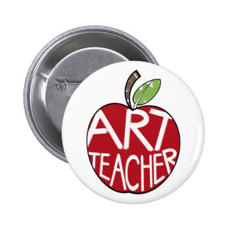 Art Teacher Painted Apple & Paint Brushes Pinback Buttons