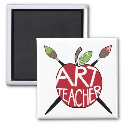 Art Teacher Painted Apple & Paint Brushes Magnets