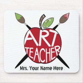 Art Teacher Painted Apple & Paint Brushes Mouse Pad