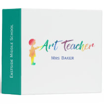Art Teacher Rainbow Watercolor Silhouette Trendy Binder
