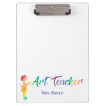 Art Teacher Rainbow Watercolor Silhouette Trendy Clipboard