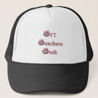 Art teacher rock 3 trucker hat
