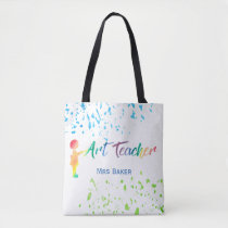 Art Teacher Watercolor Splatter Personalized Fun Tote Bag
