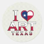 Art, Texas Round Stickers