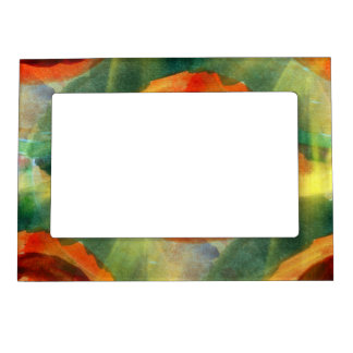 art texture abstract water green, orange, circle magnetic photo frame