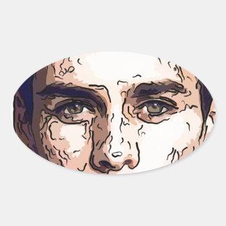 art - the male model oval sticker