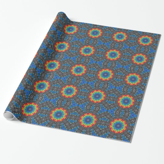Art Tie Dye Red Yellow Blue Wrapping Paper