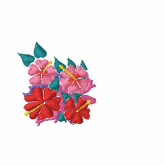Art Top: Joanne Short Embroidered Hibiscus. Red