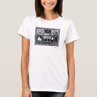 Art Tshirt: Cornish Boats Lino Cut Print T-Shirt