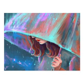 Art Umbrella Rain Girl Postcard
