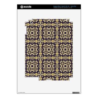 Art vintage damask pattern, golden decals for iPad 3