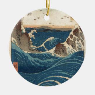 art vintahge Japan Double-Sided Ceramic Round Christmas Ornament
