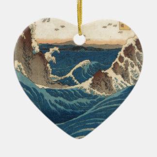 art vintahge Japan Double-Sided Heart Ceramic Christmas Ornament