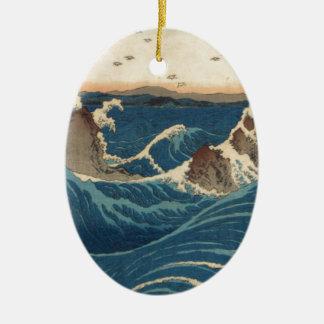 art vintahge Japan Double-Sided Oval Ceramic Christmas Ornament