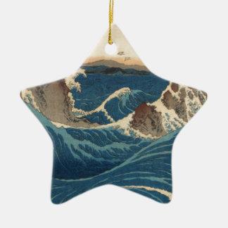 art vintahge Japan Double-Sided Star Ceramic Christmas Ornament