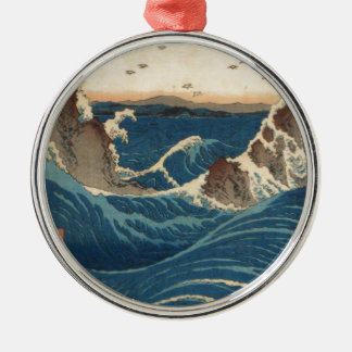 art vintahge Japan Round Metal Christmas Ornament