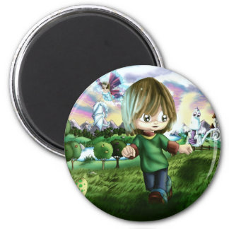 Art with his friends 2 inch round magnet