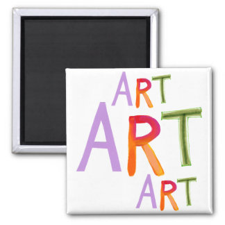 Art word fun colorful - for artists & works of art 2 inch square magnet