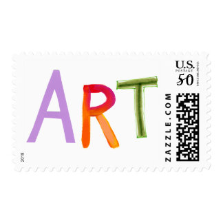 Art word fun colorful - for artists & works of art postage