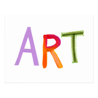Art word fun colorful - for artists & works of art postcard