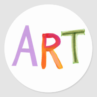 Art word fun colorful - for artists works of art round stickers