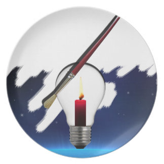 Art World Light Bulb Party Plate