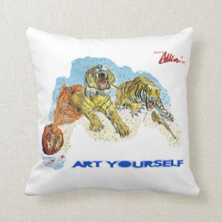 Art Yourself - Tigers in dreams Throw Pillows
