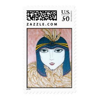 ArtByRae - Blue Headdress Flapper Girl Postage
