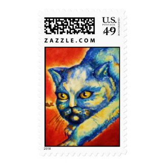 "ArtByRae - Kitty ""Hunter"" - Post Stamp"