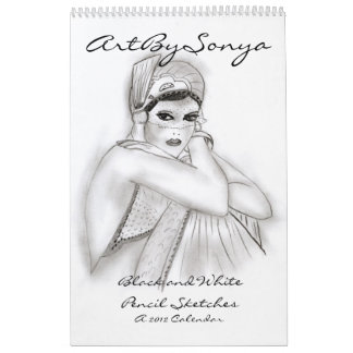 ArtBySonya Black and White Pencil Sketches Calendar
