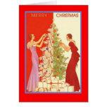 ArtDecoLadiesChristmas-GreetingCard Card