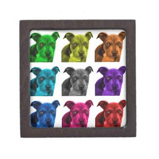 arte 0785 del perro del pitbull cajas de joyas de calidad