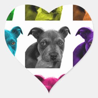 arte 0785 del perro del pitbull pegatina en forma de corazón