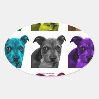 arte 0785 del perro del pitbull pegatina ovalada
