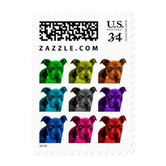 arte 0785 del perro del pitbull timbre postal
