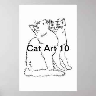Arte 10 del gato poster