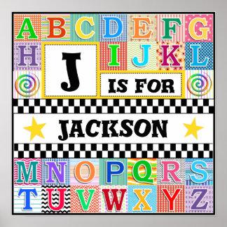 Arte 16x16 del alfabeto de los niños personalizado póster