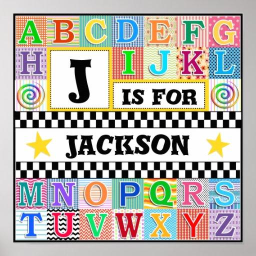 Arte 16x16 del alfabeto de los niños personalizado poster