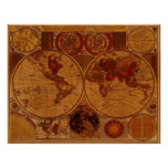 Arte 1780 del mapa de Viejo Mundo Posters