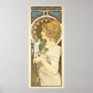 Arte 1899 del perfil de la mujer de Alfons Mucha Póster