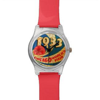 Arte 1933 de publicidad de la feria de mundos de C Relojes