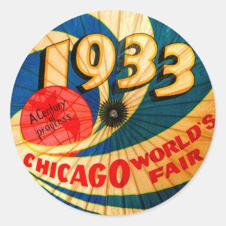 Arte 1933 del anuncio del progreso del siglo de la pegatina redonda