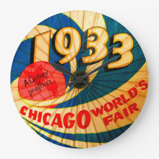 Arte 1933 del anuncio del progreso del siglo de la reloj de pared