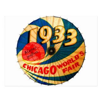 Arte 1933 del anuncio del progreso del siglo de la postales