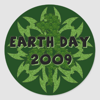 Arte 2009 del Día de la Tierra Pegatina Redonda