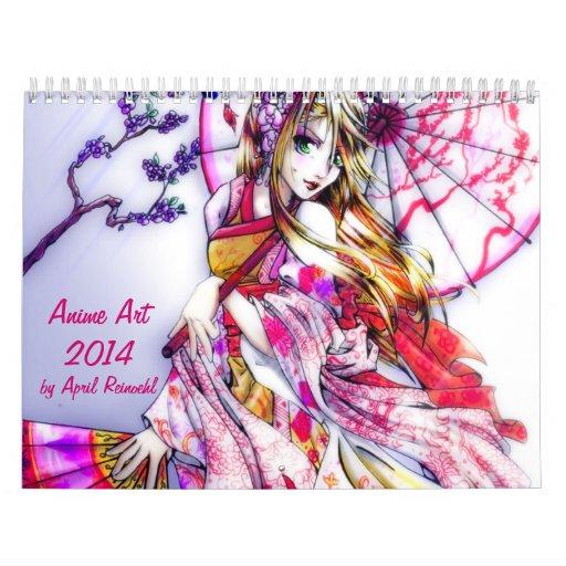 Arte 2014 del animado calendario de pared